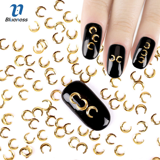 3D Nail Art Decoration Japanese Style Gold Moon 3*5mm Design Charms ...