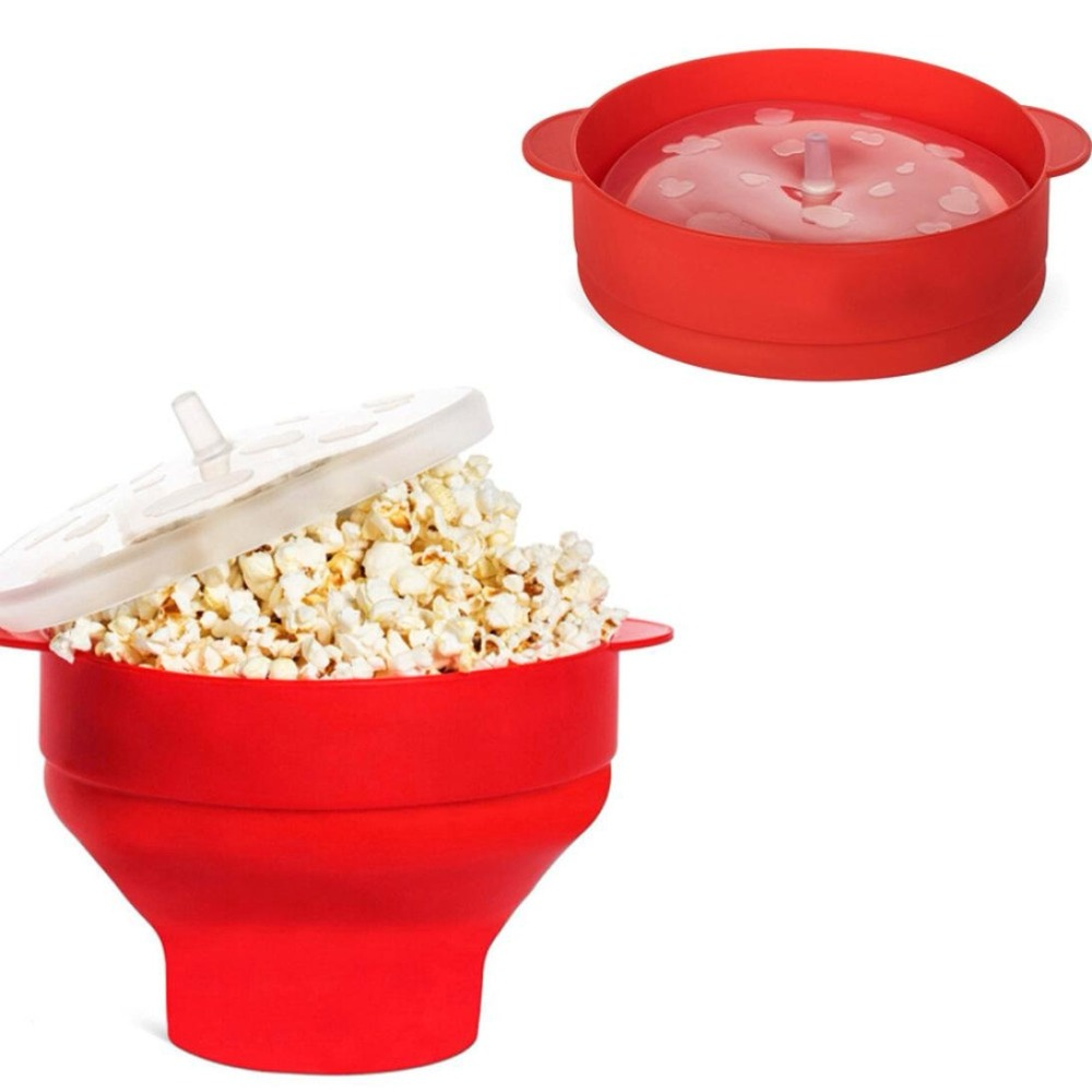 2020 New Popcorn Microwave Silicone Foldable Red High Quality Kitchen Easy Tools DIY Popcorn Bucket Bowl Maker With Lid 5