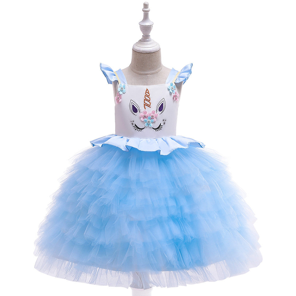 Summer New Cute Unicorn Layered Dress Flower Girl Dresses For Wedding Fashion Small Flying Sleeve Design Princess Lace GownsSummer New Cute Unicorn Layered Dress Flower Girl Dresses For Wedding Fashion Small Flying Sleeve Design Princess Lace Gowns