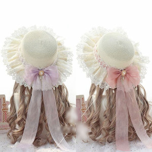 Image 2 - Sweet Lolita Straw Sunhat Mori Girl Caps with Lace & Bowknot Beach Summer Hat