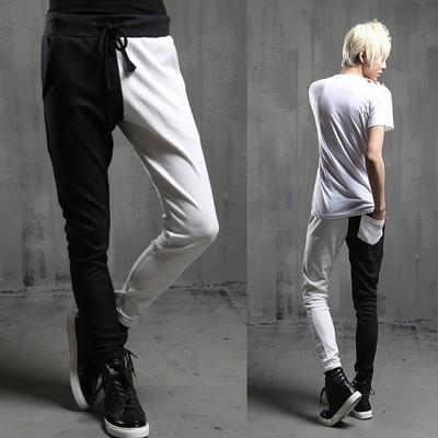 Men's Korean Fashion Street Leisure Pants Pieced Pants Spring Pencil Pants Panelled Trousers Male