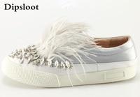 Drop Shipping 2017 Autumn Girls Pink Gray Black Light Blue Feather Diamond Crystal Round Toe Slip