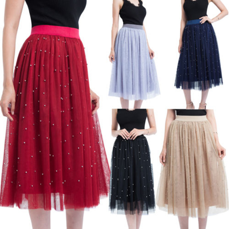 c89a621d9f0 3 Layer Tulle Skirt Womens Vintage Beads Skirts Luxury Lace Pearls Tutu  Petticoat Ball Gown Skirt Elegant-in Skirts from Women s Clothing    Accessories on ...