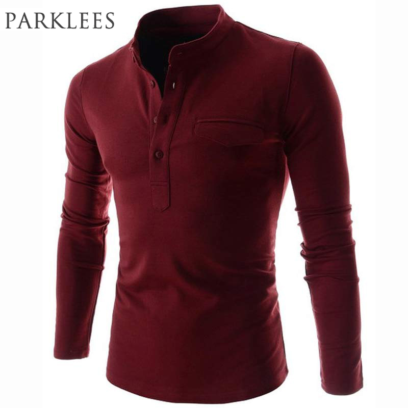 New Wine Red   Polo   Shirt Men   Polo   Homme 2016 Autumn Mens Fashion Long Sleeve Cotton Henley Shirt Brand Slim Fit Mens   Polo   Shirts