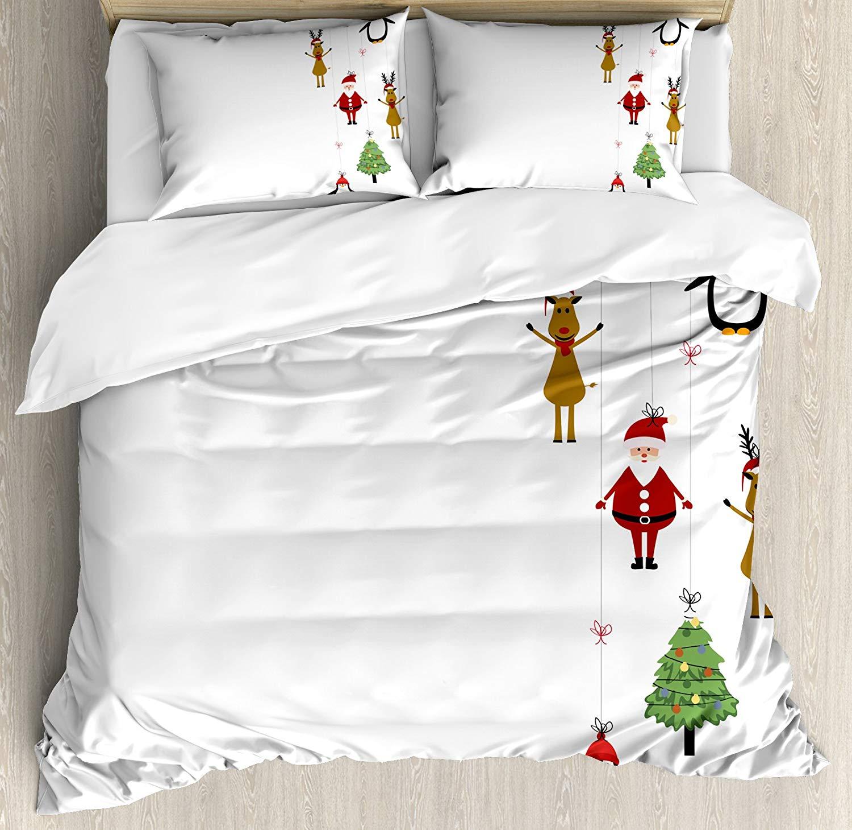 Рождественский постельное белье queen Размеры стилизованные оленей Санта Клаус пингвины и елка на в полоску симпатичный дизайн декоративные