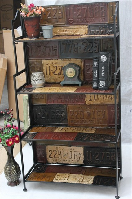 Large Industrial Loft Style Antique Furniture, Wrought Iron Retro Vintage License  Plate Four Display Shelves