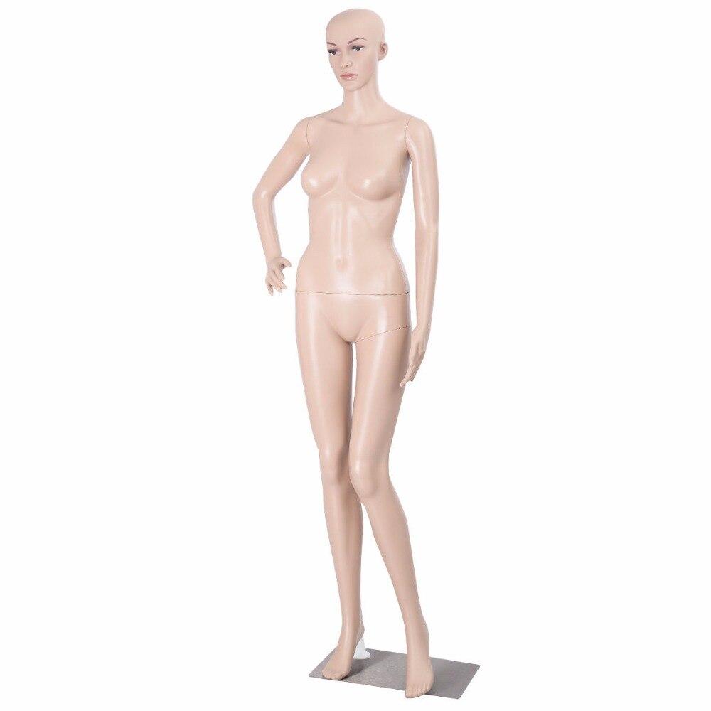 Goplus femme Mannequin en plastique réaliste affichage tête tourne robe forme w/Base HW51119