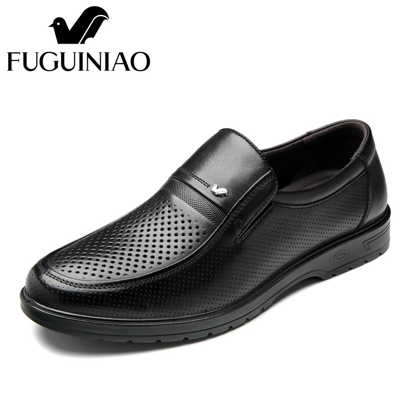 Summer men s Breathable dress shoes Free shipping FUGUINIAO Genuine Leather perforated Men s black Business