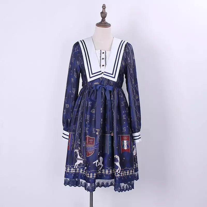Ladies Summer Lolita Costume Blue Lace Mori OP Dress Sailor Collar Waist Tie Floral Print Royal Navy Blue Party Dress For Women