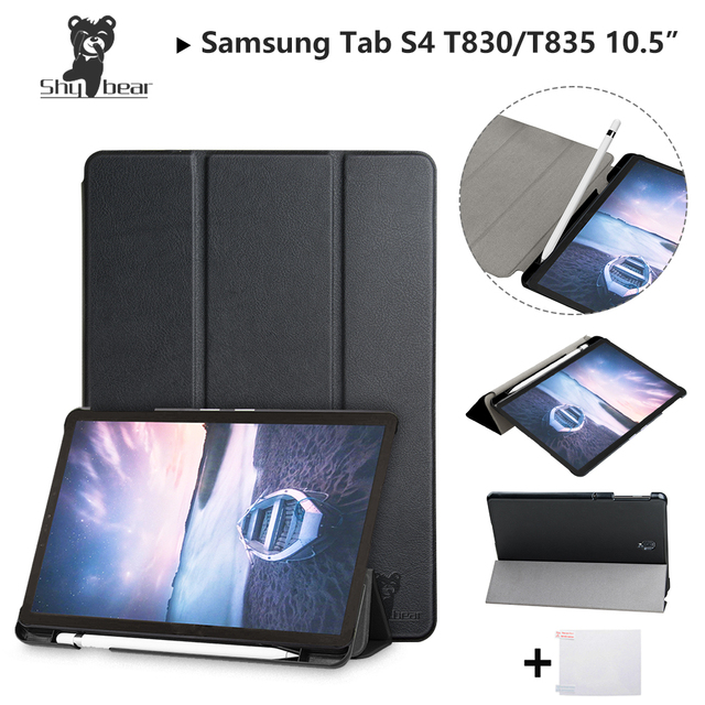 5310bd1ddff PU Leather Case for Samsung Galaxy Tab S4 10.5''T830 SM-T835 T835 10.5''  2018 with Pen-slot Protective Tablet Cover Case+gift