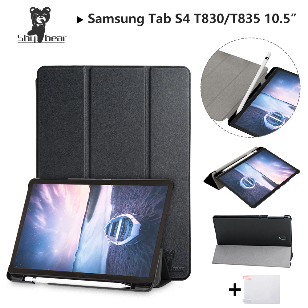 PU Leather <font><b>Case</b></font> for <font><b>Samsung</b></font> <font><b>Galaxy</b></font> <font><b>Tab</b></font> <font><b>S4</b></font> <font><b>10.5</b></font>''T830 SM-T835 T835 <font><b>10.5</b></font>'' 2018 with Pen-slot Protective <font><b>Tablet</b></font> Cover <font><b>Case</b></font>+gift image