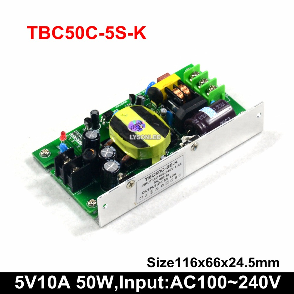 5V 10A 50W LED Scrolling Display Power Supply , Input AC100-240V Slim 50W LED Power Supply(35W/50W/75W/100W Stock)