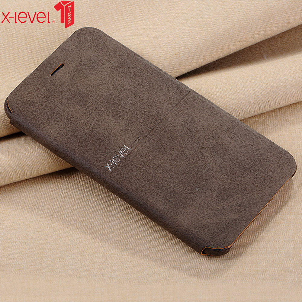 X-Level For iPhone 6 6S Veske Skinndeksel Ultratynn PU Flip Stand Business Telefon Bakdeksel For iPhone 6 6S Plus Veske