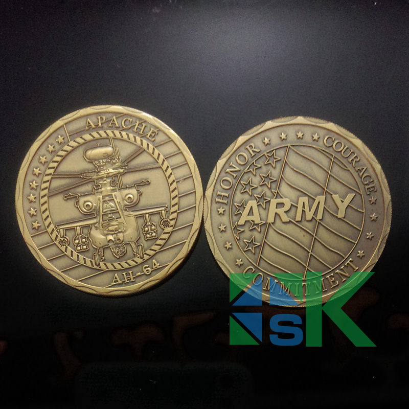 100pcs/Lot Apache Helicopter AH-64 Army Challenge Coin Ancient Gold Plating Coins