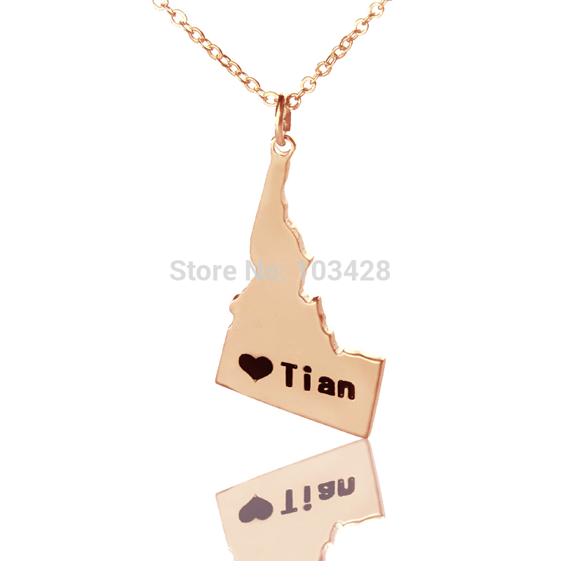 Custom America State Necklaces The Idaho State Shaped Necklaces Rose Gold Color State Love Map Necklace