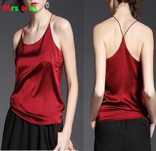 2017 Summer Style Sexy Silk Halter Top Women Camisole  Sleeveless Vest Slim solid colour Feamle Tops Woman Black Sleevele