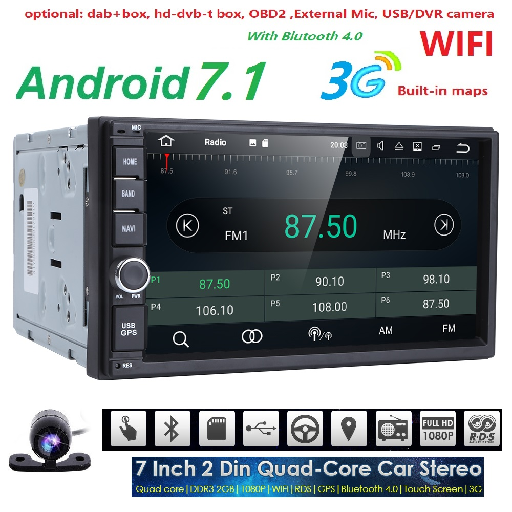 2 din Android 7.1 GPS AutoRadio Tape Recorder Car NO DVD Player For Nissan x trail Car PC Tablet Navi Multimedia Head Unit SWC