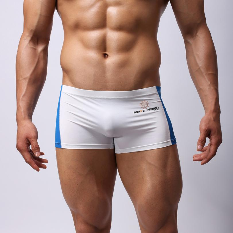 Briefs Trunks Swim-Shorts Swimming Breathable Boxer Mens Patchwork Stretch Sexy