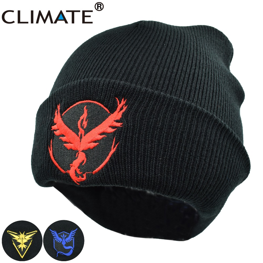 CLIMATE Men Women Winter Warm Beanie Hat Pocket Monster Team Pikachu Knitted Skullies Hat Soft Solid HipHop Acrylic Hat Caps beanie beanie cartoon animal hat white kitty pink bow hat children caps skullies