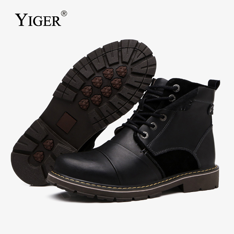 YIGER NEW Man Martins Boots Genuine Leather Winter warm shoes Men Western boots Lace up Man