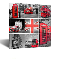 Black And White Red Telephone Booth And Big Ben In London Street Wall Art Painting Pictures