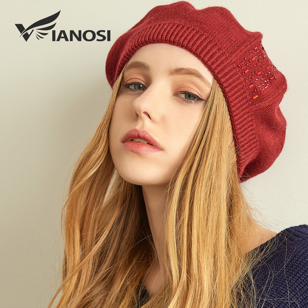 VIANOSI Women Beret Cotton Wool Brand New Knitted Fashion Diamond Autumn 2018 winter sale Hats for Women Caps Dropshipping-in Women's Berets from Apparel Accessories