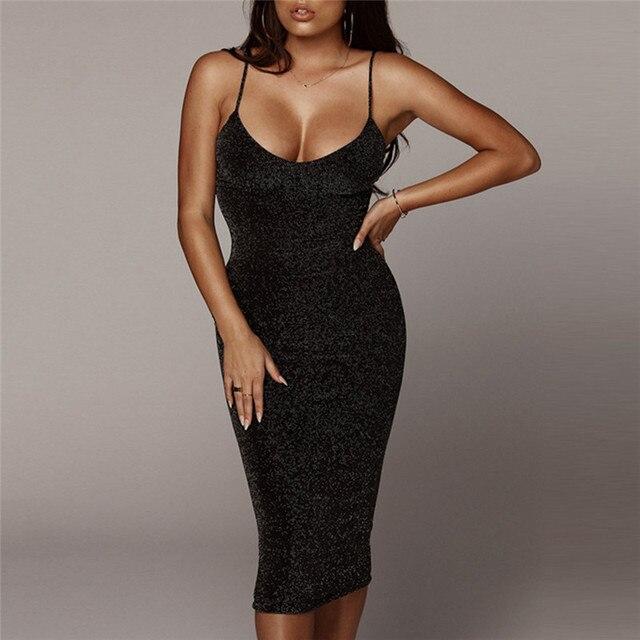 Fashion New Women Sexy Long Dress Spaghetti Straps Slash Neck Backless High Waist Bodycon Elegant Fashion Party Dresses 1