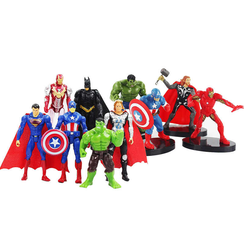 10.5 Cm Super Hero Mainan Avengers Figure Set Super Hero Batman Thor Captain America Action Figure Collectible Model Boneka