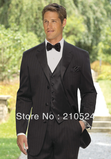 2017 Welcome Por Men S Black Pinstripe Suit The Groom Best Man Business Wedding Jack