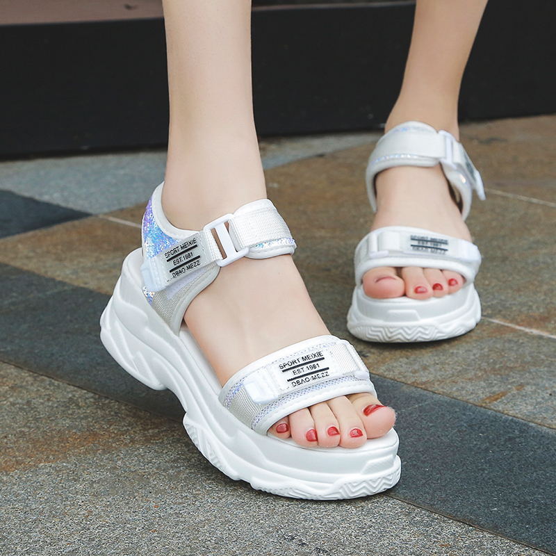 HTB1k9Ltd7WE3KVjSZSyq6xocXXar - Fujin Summer Women Sandals Buckle Design Black White Platform Sandals Comfortable Women Thick Sole Beach Shoes