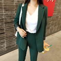 Women's Business Suits Formal Office pant Suits female Work wear 2 Piece Sets 2017 Slim green Suit Jacket Set