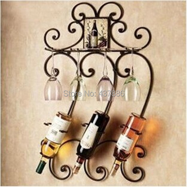 Diffe Colors Fashion Wine Bottle Holder Wrought Iron Wall Hanging Rack Bar Gl In Racks From Home Garden On Aliexpress