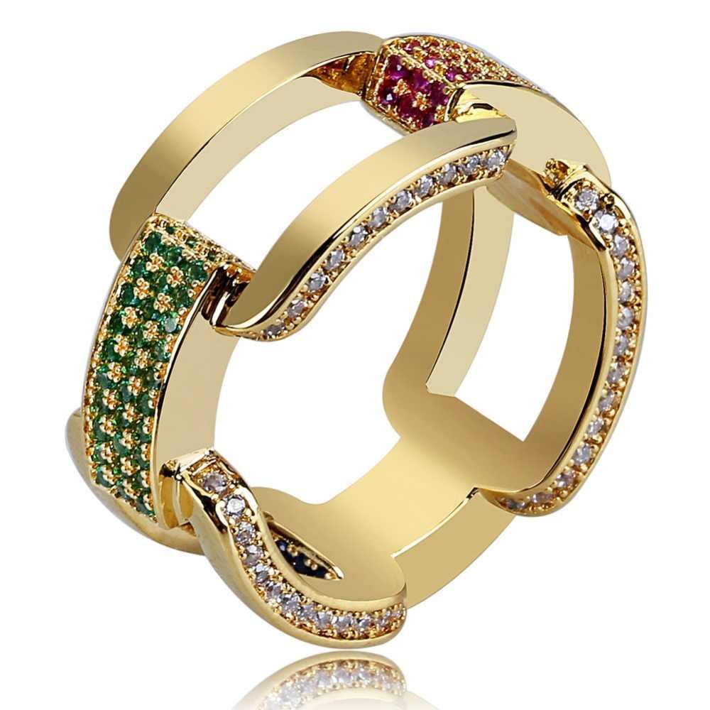 TOPGRILLZ Gold Silver Iced Out Cubic Zircon Cuban Chain แหวน Hip Hop เครื่องประดับ CZ แหวนของขวัญ