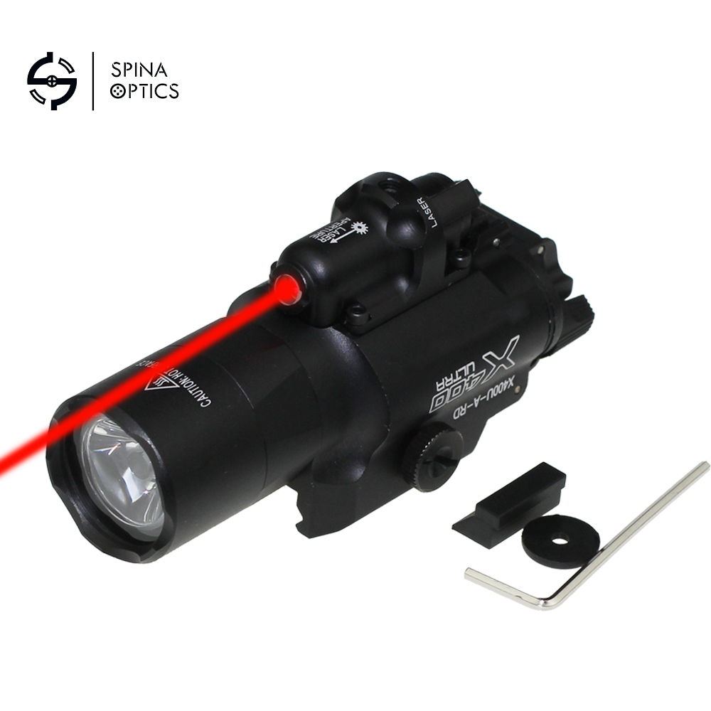 SPINA OPTICA Tactical Weapon Light X400U ULTRA LED Flashlight Handgun Light With Red Laser Sight For Pistol for 20mm Rail 2in1 tactical led flashlight light red laser sight weapon light for shotgun for glock 17 19 22 20 23 31 37