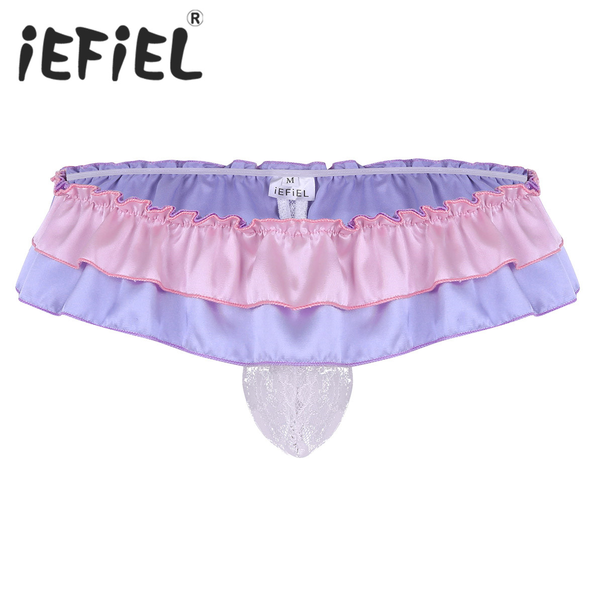 Sexy Men Lingerie See Through Floral Lace Bulge Pouch Ruffled Low Rise Sissy Bikini G-string Thong Gay Male Underwear Underpants