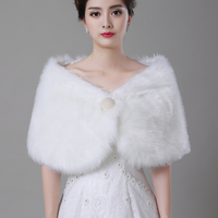 Cheap New Ivory Faux Fur Pearl Wedding Wrap Bridal Cape Bridal Wrap Shrug Stole Cape Women