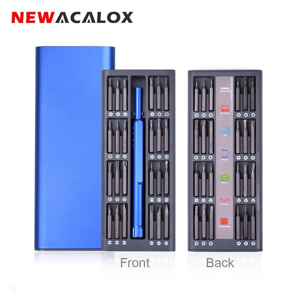 NEWACALOX Kit de réparation 48 en 1 multi-outil ensemble de tournevis magnétique Kit d'outils de précision réparation montre de téléphone portable avec boîtier en alliage