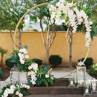 Wedding Arch Background Wrought Iron Plank Decorative Props DIY Round Party Background Plank Flower with Frame