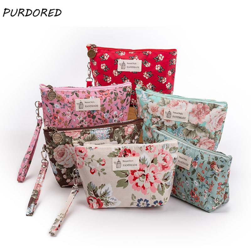 PURDORED 1 Pc Floral Cosmetic Bag Portable 3D Printing Flowers Travel Wash Storage Beauty Pouch Women Make Up Bag Dropshipping