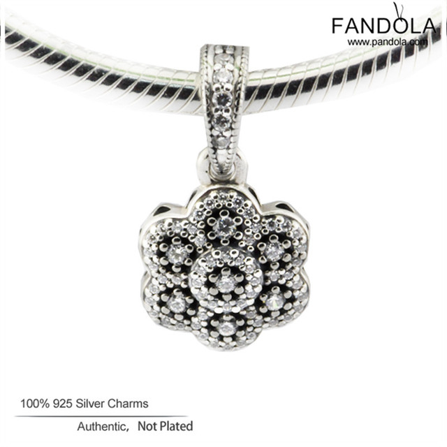Fits Pandora Bracelet Crystallised Floral Charms Original 925 Sterling Silver Beads for Jewelry Making 2017 Valentine's Day
