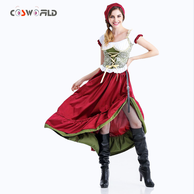 Coshome Oktoberfest Women And Girls Cosplay Dress Costumes German Beer Wench Coat Adult Lolita Uniforms Halloween Party Costumes