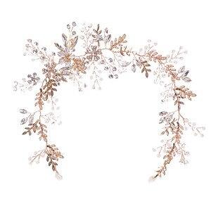 Image 5 - Модные повязки для волос Стразы с кристаллами для невесты повязка на голову с розовыми цветами и листьями Тиара головной убор Свадебные украшения для волос аксессуары SL