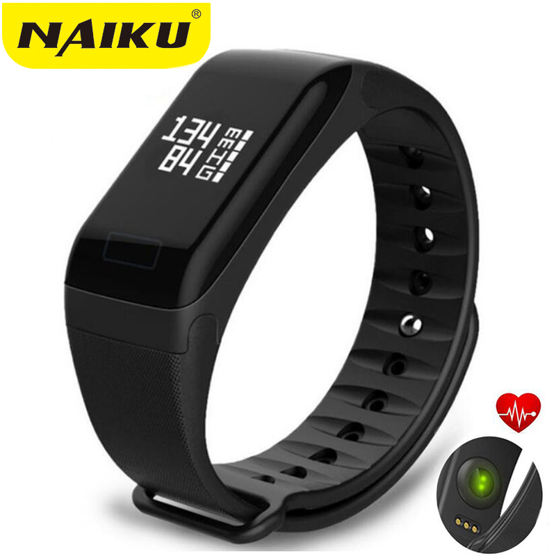 NAIKU Fitness Tracker pulsera con supervisión de frecuencia cardiaca pulsera inteligente F1 Smartbracelet presión arterial con pulsera de podómetro