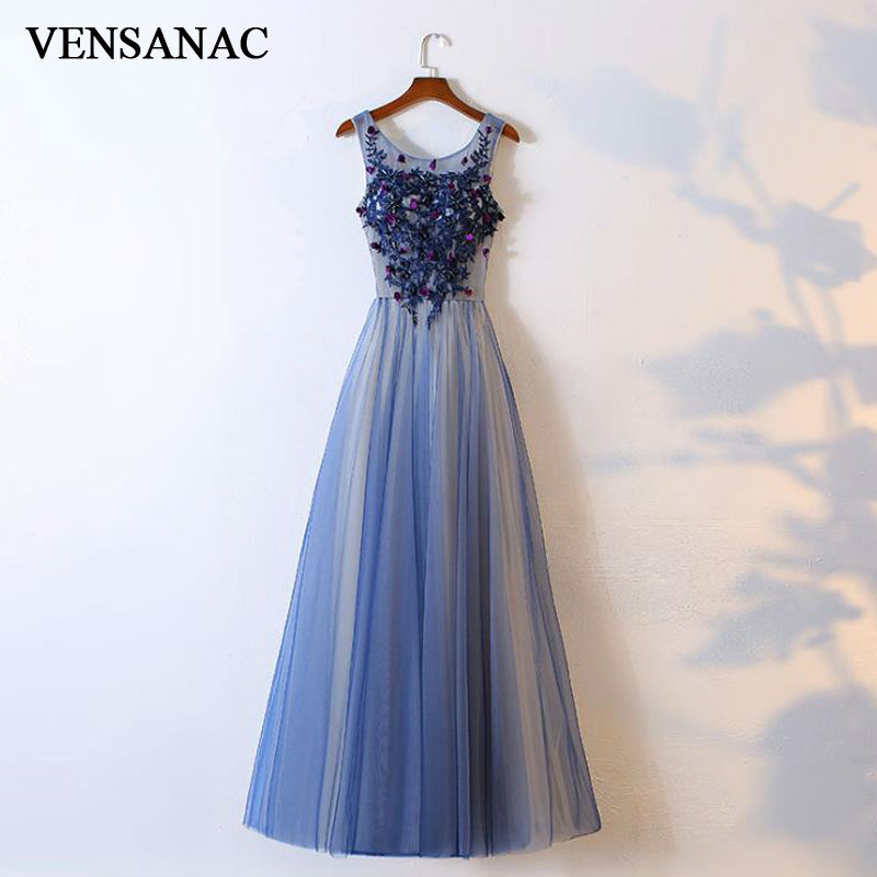 VENSANAC New A Line 2018 Flowers O Neck Draped Long   Evening     Dresses   Sleeveless Elegant Lace Sequined Tank Party Prom Gowns
