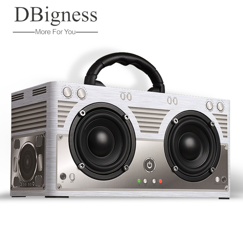 Dbigness Wood Bluetooth 4.2 Speaker Wireless Portable Stereo Audio Speaker Hand Free with Mic Support FM Radio TF card AUX Music nillkin s bti1 ifashion mini portable wireless bluetooth v3 0 speaker w mic aux blue