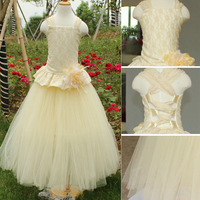 Fashion High Quality Luxury Kids Clothes Baby Girl Luxury Dresses Ivory Flower Girl Dress Wedding Party
