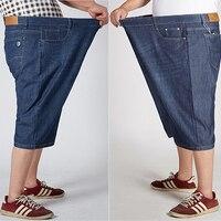 Thin Stretch Design 52 50 48 46 44 Big Size Male Jeans Capri Pants Denim