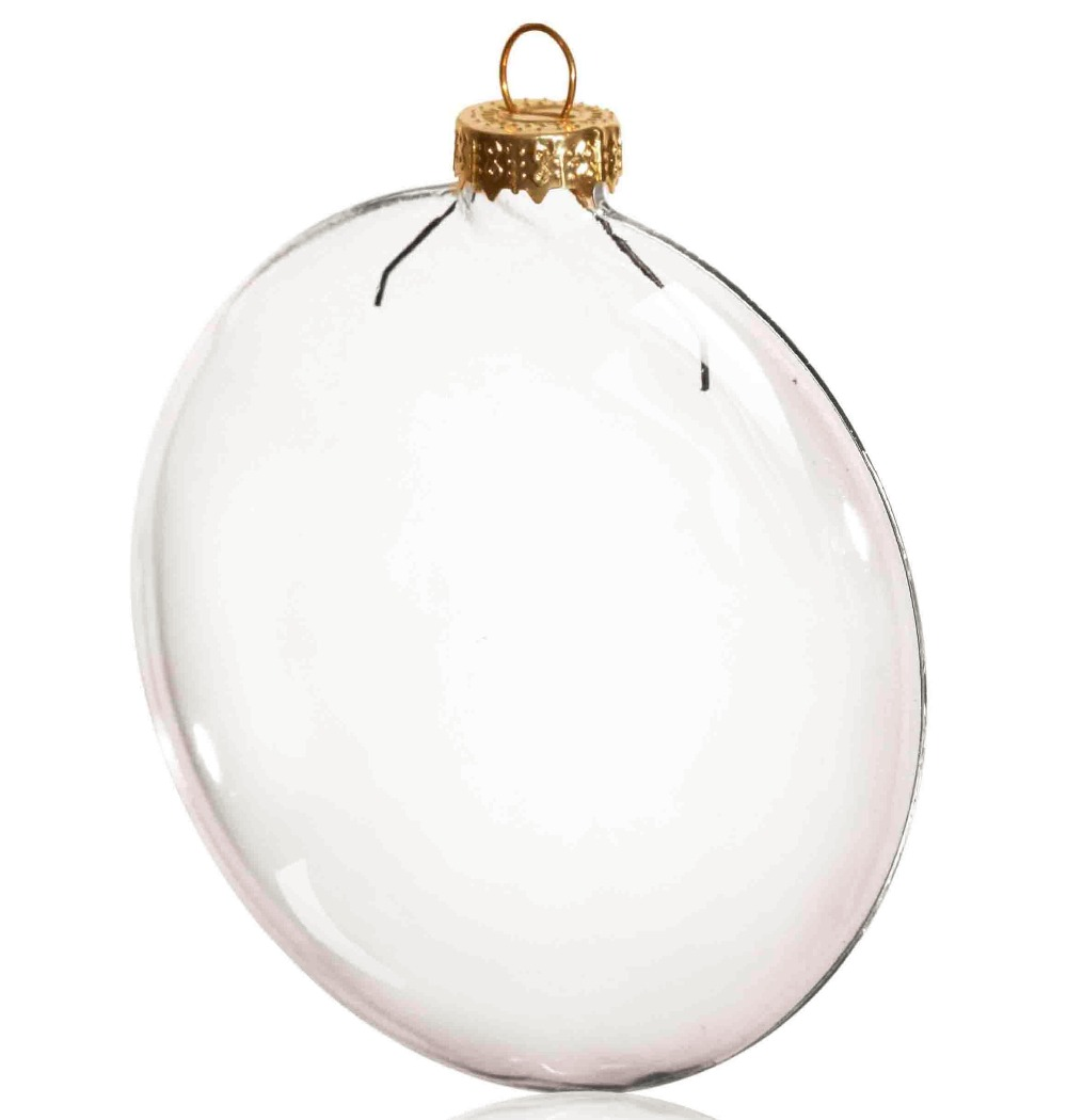 Glass globe ornaments - Promotion Diy Paintable Clear Christmas Decoration 80mm Glass Disc Paper Gold Cap Ornament