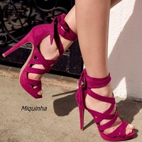 Fashion Strappy Style Ankle Lace Up High Heels Sexy Cut-out Open Toe Stiletto Heel Dress Sandals Pretty Rose Red Platform Shoes