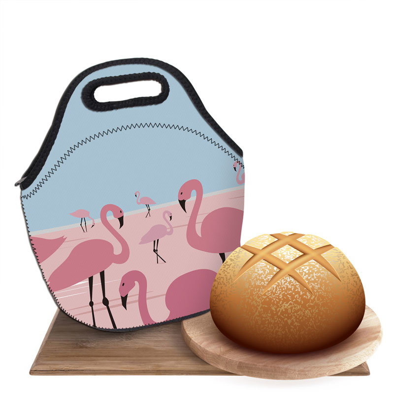 Fashion Flamingos Printed Neoprene Insulated Lunch Bag Women Unique Water Resistant Portable Lunch Box for Work School Snack Bag in Lunch Bags from Luggage Bags